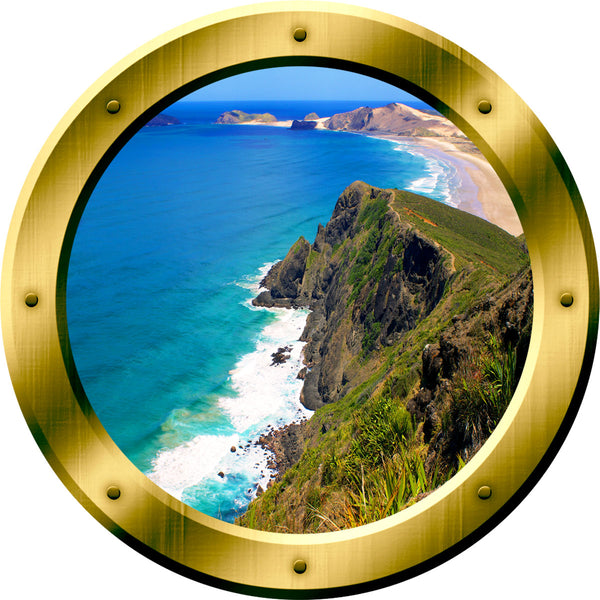 VWAQ Ocean Cliff Window Gold Porthole Peel and Stick Vinyl Wall Decal - GP33 - VWAQ Vinyl Wall Art Quotes and Prints
