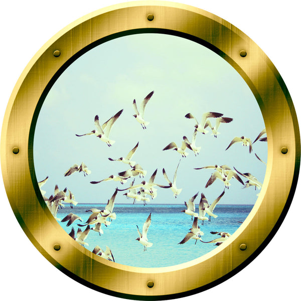 VWAQ Ocean View Seagulls Window Porthole Peel and Stick Vinyl Wall Decal - GP37 no background