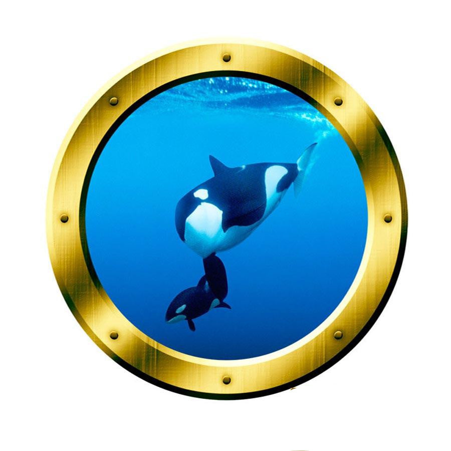 Underwater 3D Porthole Orca Whale Family Wall Art Killer Whale Ocean View 3D Window Gold Portal Art VWAQ-GP3 Wall Decal