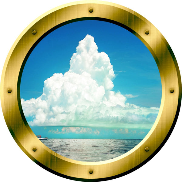 VWAQ Ocean and Clouds Scene Peel and Stick Gold Porthole Vinyl Wall Decal - GP40 no background