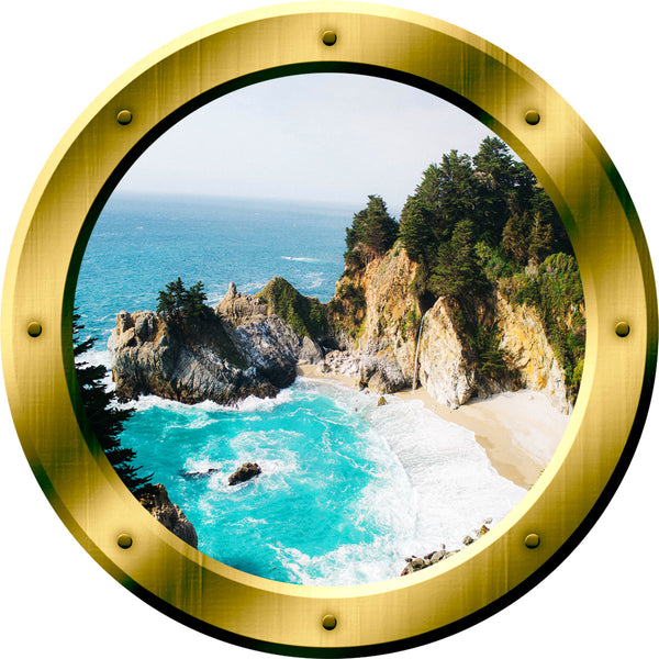 VWAQ Ocean Cliff Aerial View Peel and Stick Gold Window Porthole Wall Decal - GP41 no background