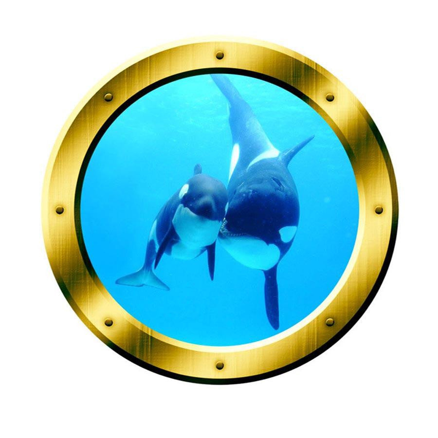 Underwater Wall Art 3D Porthole Orca Whale Family Wall Art Killer Whales Ocean View 3D Window Gold Portal Art VWAQ-GP4 Wall Decal