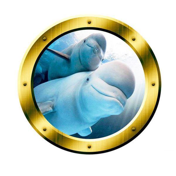 VWAQ Underwater Beluga Whale View Gold Window Porthole Vinyl Wall Decal - GP5 - VWAQ Vinyl Wall Art Quotes and Prints