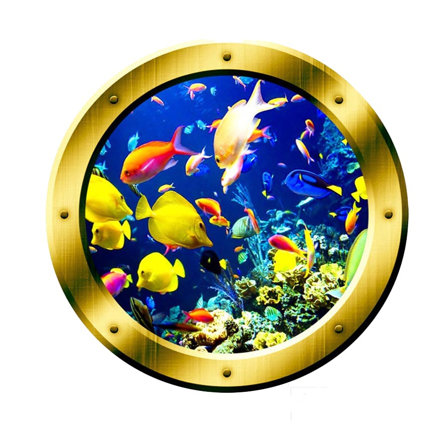 VWAQ Underwater Ocean Life Porthole Gold Window frame Wall Decal - VWAQ Vinyl Wall Art Quotes and Prints no background