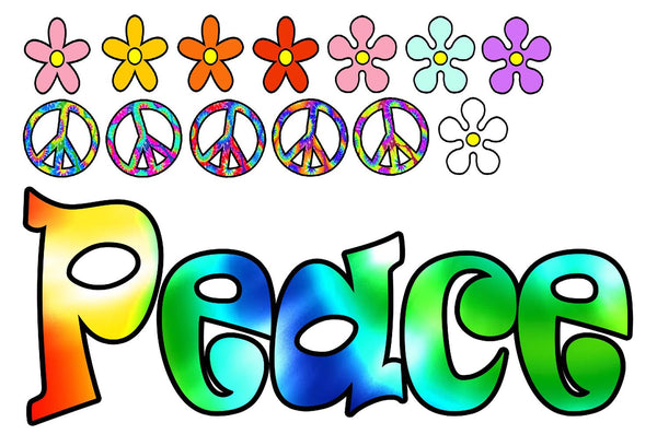 VWAQ Tie Dye Peace Vinyl Wall Decal Peace Signs And Flowers Stickers - HF2  no background