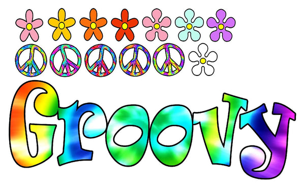 VWAQ Tie Dye Groovy Vinyl Decal Retro Flowers And Peace Signs Wall Stickers - HF4 no background