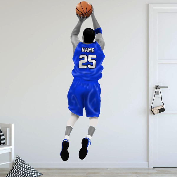 VWAQ Personalized Basketball Player Wall Decal - Custom Name Sports Wall Sticker Peel and Stick - HOL31