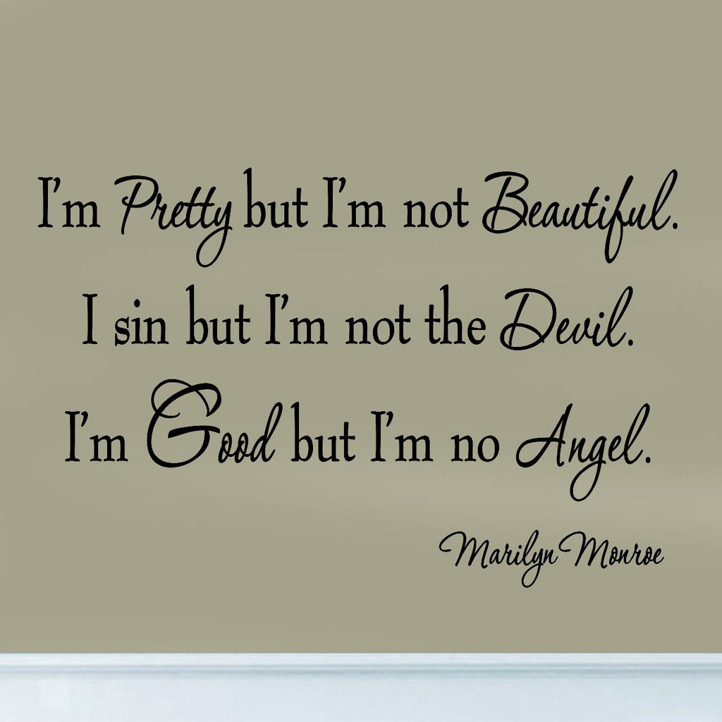 I'm Pretty But I'm Not Beautiful Marilyn Monroe Quotes Wall Decals Wall Decal
