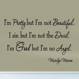 VWAQ I'm Pretty But I'm Not Beautiful Marilyn Monroe Wall Decal - VWAQ Vinyl Wall Art Quotes and Prints