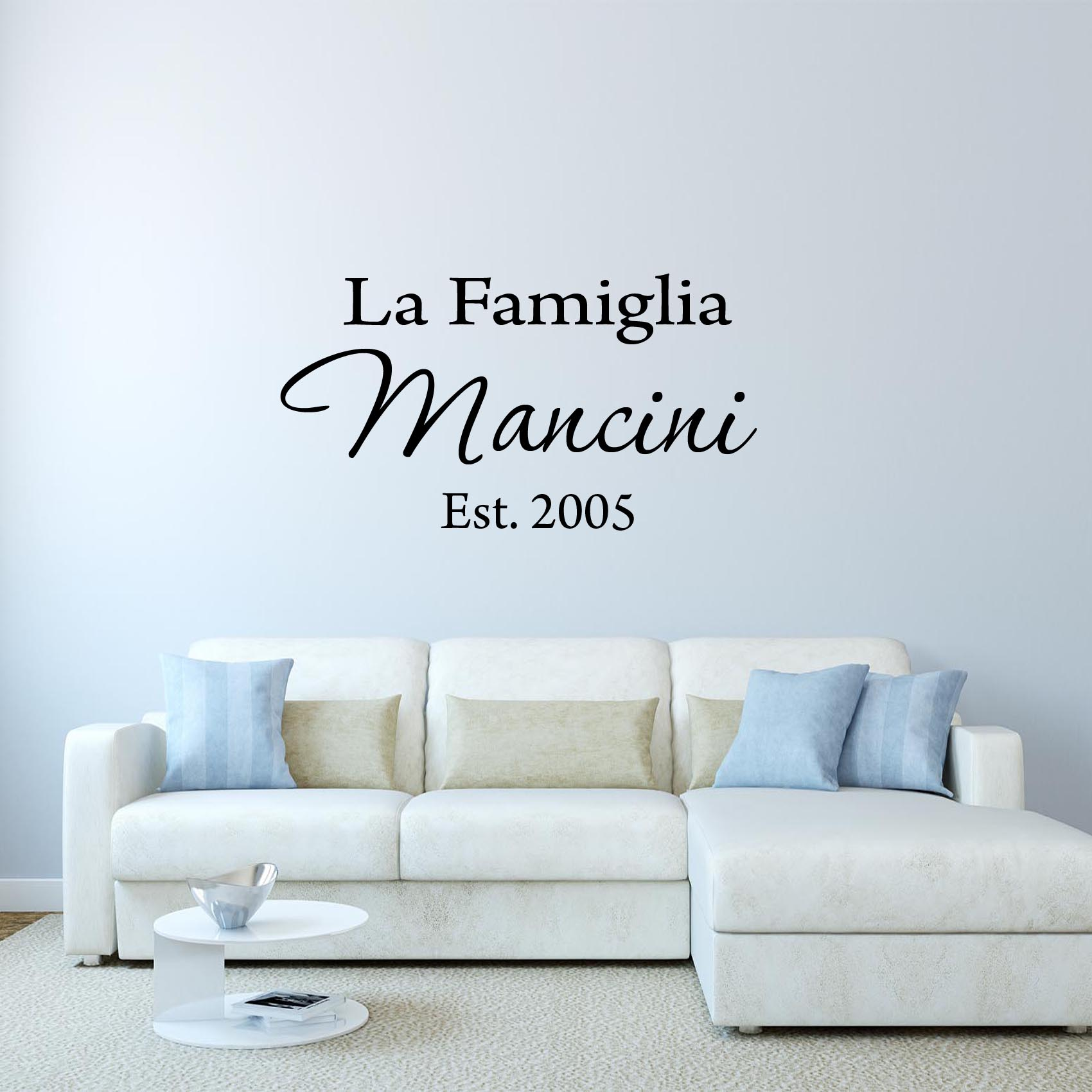 VWAQ La Famiglia Custom Italian Family Name Wall Decal Insert Family Name