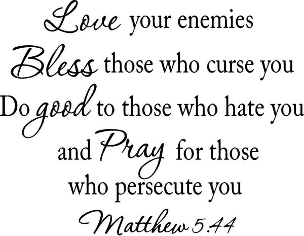 VWAQ Love Your Enemies Matthew 5:44 Vinyl Wall Decal no background