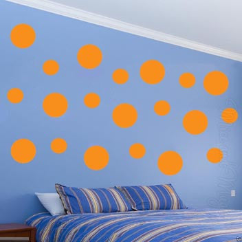 VWAQ Pack of (20) Assorted Sized Peel and Stick Orange Polka Dots Wall Decals - VWAQ Vinyl Wall Art Quotes and Prints