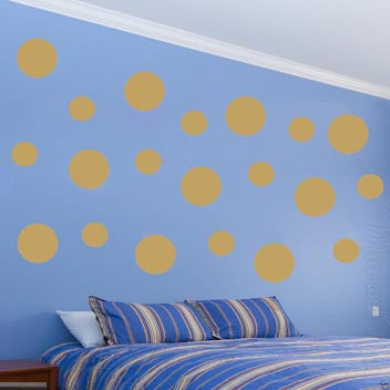 Polka Dots Wall Decals 20 Pack Big Peel & Stick Assorted Multi-Sizes Gold MM-18 Wall Decal