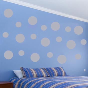 VWAQ Pack of (20) Assorted Sized Peel and Stick Silver Polka Dots Wall Decals - VWAQ Vinyl Wall Art Quotes and Prints