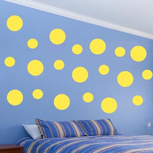 VWAQ Pack of (20) Assorted Sized Peel and Stick Yellow Polka Dots Wall Decals - VWAQ Vinyl Wall Art Quotes and Prints