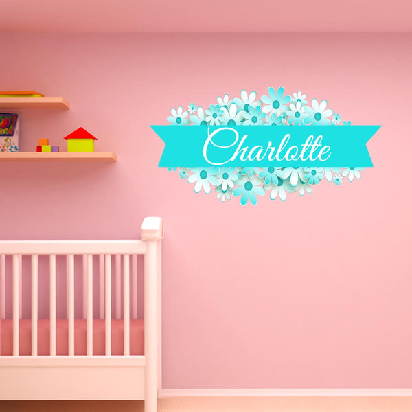 VWAQ Custom Flower Name Wall Decal - Customized Name Decals for Girls Rooms, Personalized Vinyl Wall Art Kids Decor - NS2