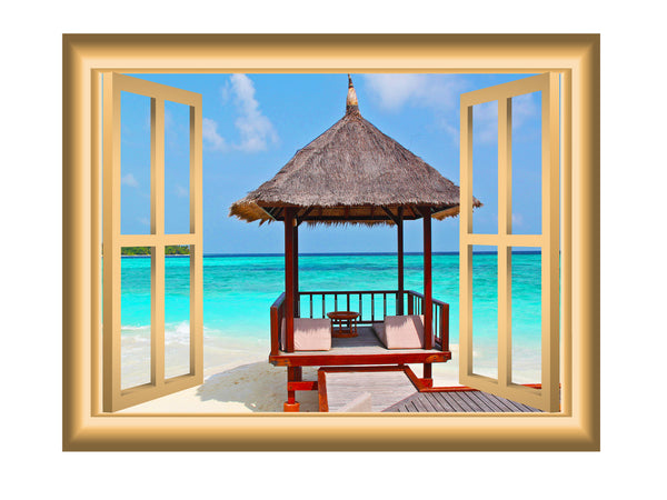 VWAQ Ocean Beach Hut Window Frame Peel and Stick Vinyl Wall Decal - NW10 - VWAQ Vinyl Wall Art Quotes and Prints