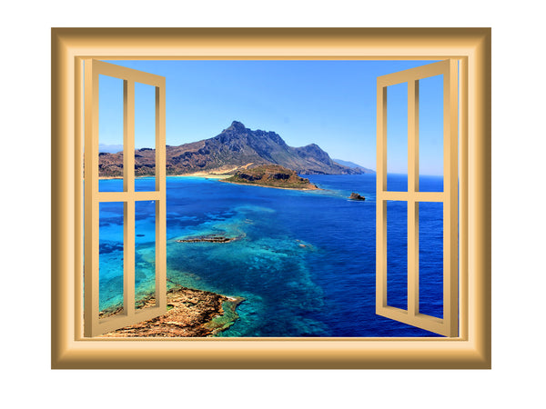 VWAQ Window Frame Wall Decal Mountain Ocean View Peel and Stick Mural - VWAQ Vinyl Wall Art Quotes and Prints no background