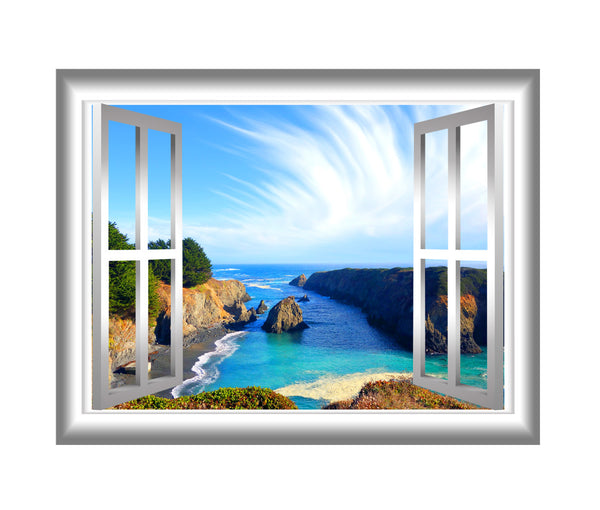 VWAQ Scenic Ocean View Peel and Stick Window Frame Vinyl Wall Decal - NW15 no background