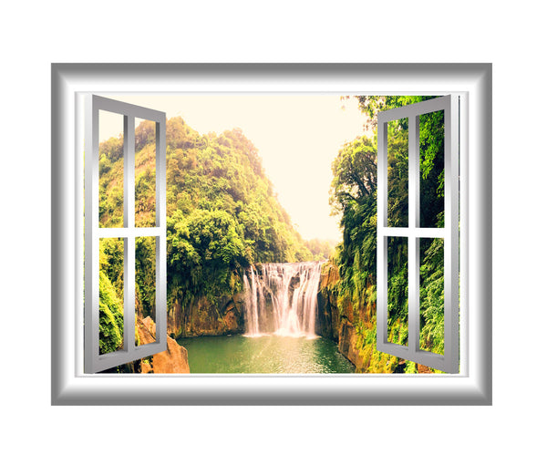 VWAQ Window Frame Waterfall View Peel and Stick Vinyl Wall Decal - NW16 no background