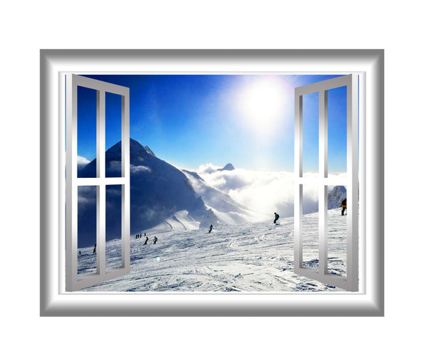 VWAQ Snowy Mountain Wall Decal 3D Window Sticker Peel and Stick Mural - NW25 no background