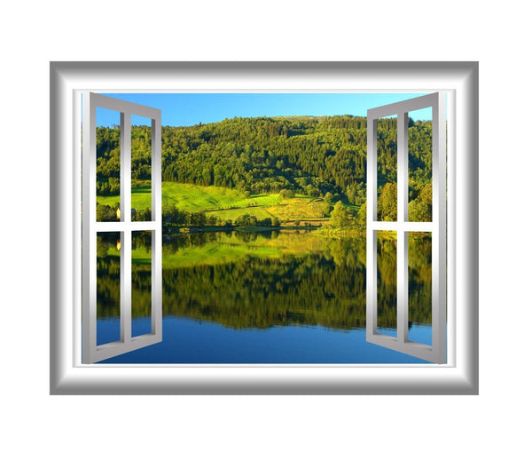 VWAQ Lake Wall Decal 3D Nature Wall Stickers Window Peel And Stick Home Decor - NW27 no background