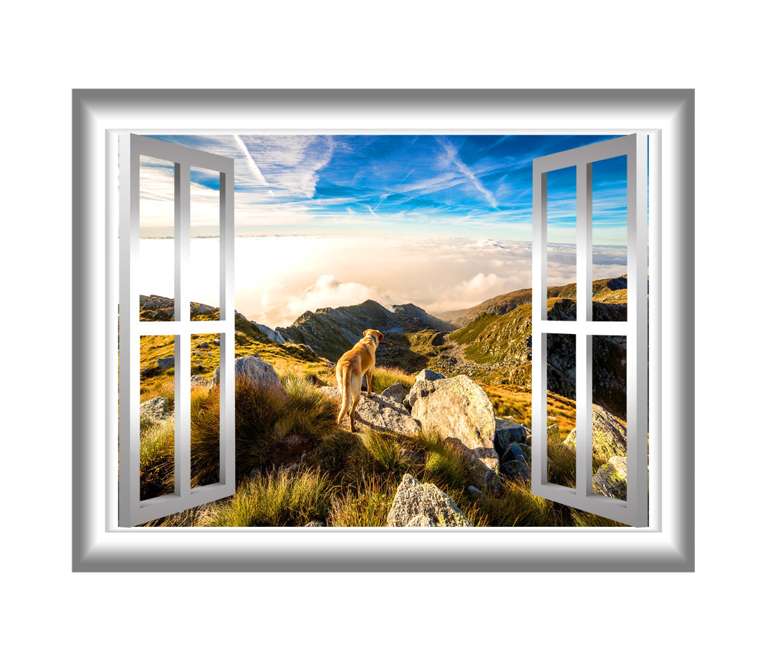 VWAQ Mountain Window Sticker Outdoors Wall Decals Peel and Stick Mural - VWAQ Vinyl Wall Art Quotes and Prints no background