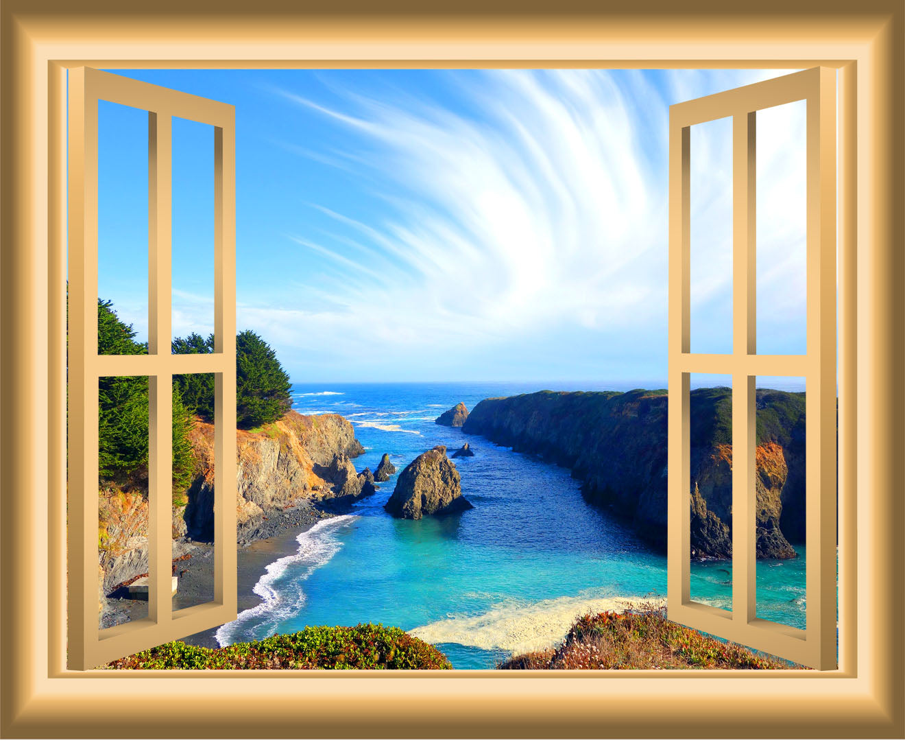 VWAQ Ocean Window 3D Wall Decal Seaside Decor Peel and Stick Mural - NW33 - VWAQ Vinyl Wall Art Quotes and Prints