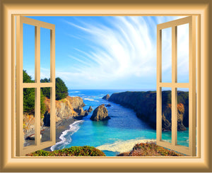 VWAQ Ocean Window 3D Wall Decal Seaside Decor Peel and Stick Mural - VWAQ Vinyl Wall Art Quotes and Prints no background