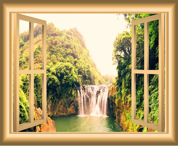 VWAQ Waterfall Window Decal 3D Wall Sticker Peel And Stick Mural - NW34 no background