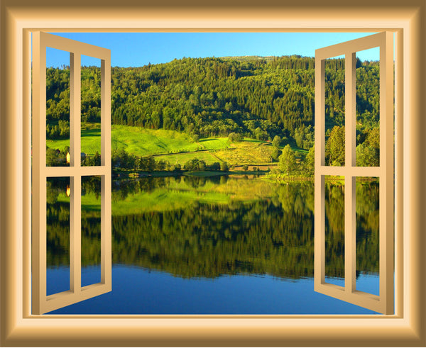 VWAQ Peel and Stick Meadow Lake with Forest Scene Window Frame Wall Decal - VWAQ Vinyl Wall Art Quotes and Prints no background