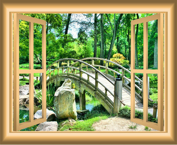 VWAQ Wooden Bridge over Babbling Brook Peel N Stick Window Frame Vinyl Wall Decal - NW49 - VWAQ Vinyl Wall Art Quotes and Prints