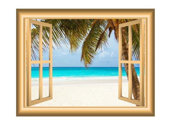 VWAQ Window Frame Wall Decal Beach Scene Ocean Peel and Stick Mural - VWAQ Vinyl Wall Art Quotes and Prints no background