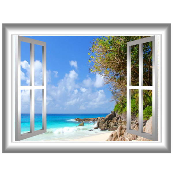 VWAQ Coastline Beach View Window Frame Vinyl Wall Decal - NW71 - VWAQ Vinyl Wall Art Quotes and Prints