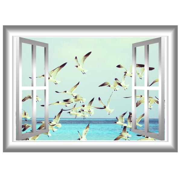 VWAQ Peel and Stick Flock of Seagulls Window Frame Vinyl Wall Decal - NW73 no background