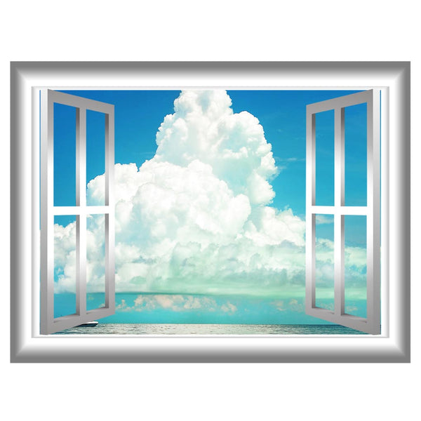 VWAQ Clouds Window Frame Peel and Stick Vinyl Wall Decal - NW76 - VWAQ Vinyl Wall Art Quotes and Prints