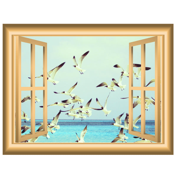 VWAQ Flock of Seagulls through Window Frame Peel and Stick Vinyl Wall Decal - NW83 - VWAQ Vinyl Wall Art Quotes and Prints