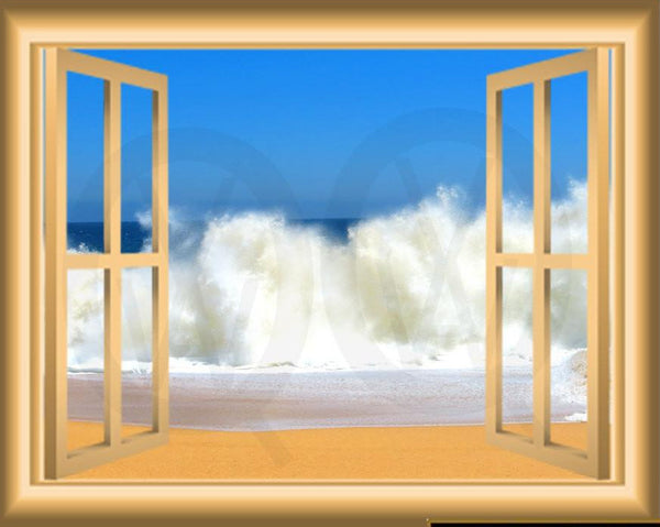 VWAQ Ocean Waves Window Frame Peel and Stick Vinyl Wall Decal - NW87 no background