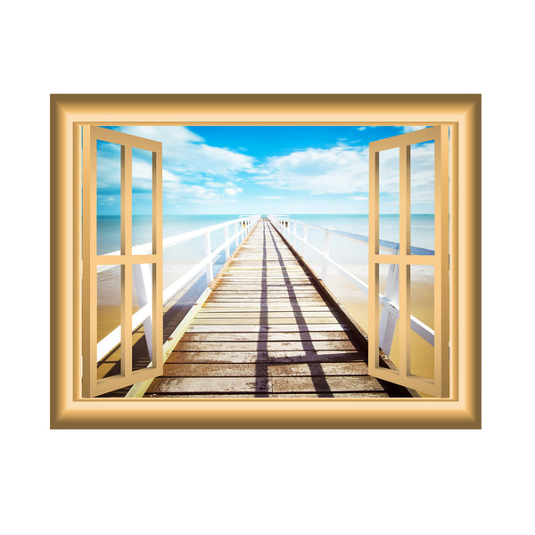 VWAQ Boardwalk Window Frame Peel and Stick Wall Decal - VWAQ Vinyl Wall Art Quotes and Prints