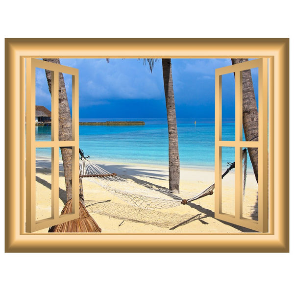 VWAQ Hammock Palm Trees Beach Scene Wall Art Window Frame Vinyl Wall Decal - NW90 - VWAQ Vinyl Wall Art Quotes and Prints
