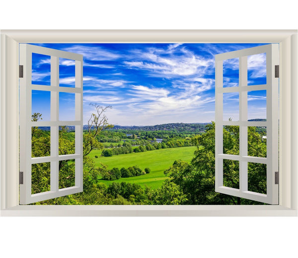 VWAQ Vinyl Nature Window Wall Decal - Grassy Field Scenic Mural Wall Decor NWT1 no background