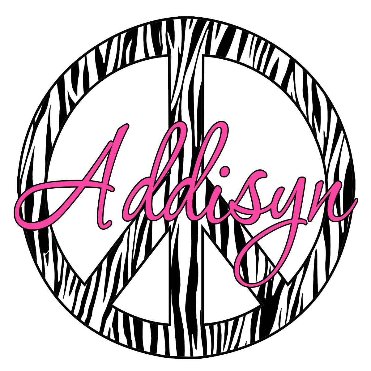VWAQ Custom Name Zebra Print Peace Sign Wall Decal - PC10 - VWAQ Vinyl Wall Art Quotes and Prints