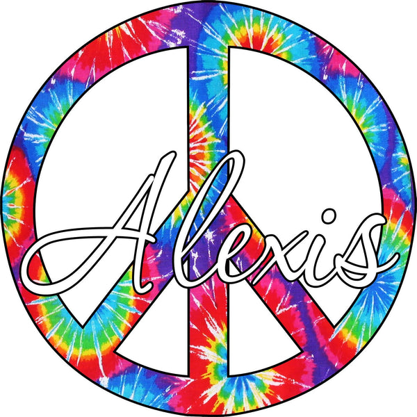 VWAQ Tie Dye Peace Sign with Custom Name Wall Decal - PC13 - VWAQ Vinyl Wall Art Quotes and Prints