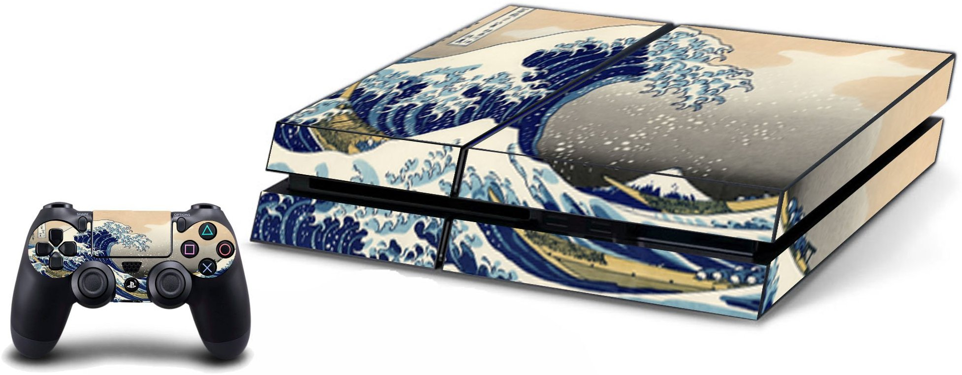 VWAQ The Great Wave Off Kanagawa Playstation PS4 Skin Console+Controller Vinyl Decal - VWAQ Vinyl Wall Art Quotes and Prints