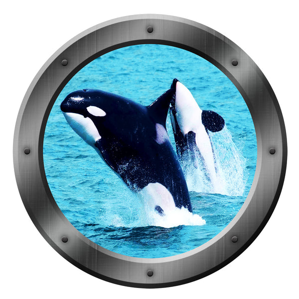 VWAQ Orca Whales Sea Porthole Peel and Stick Vinyl Wall Decal - VWAQ Vinyl Wall Art Quotes and Prints no background