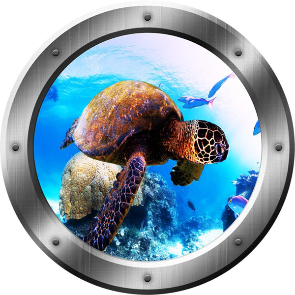 VWAQ Sea Turtle Portrait, Turtle Wall Decal, Porthole, Underwater Ocean Decals no background