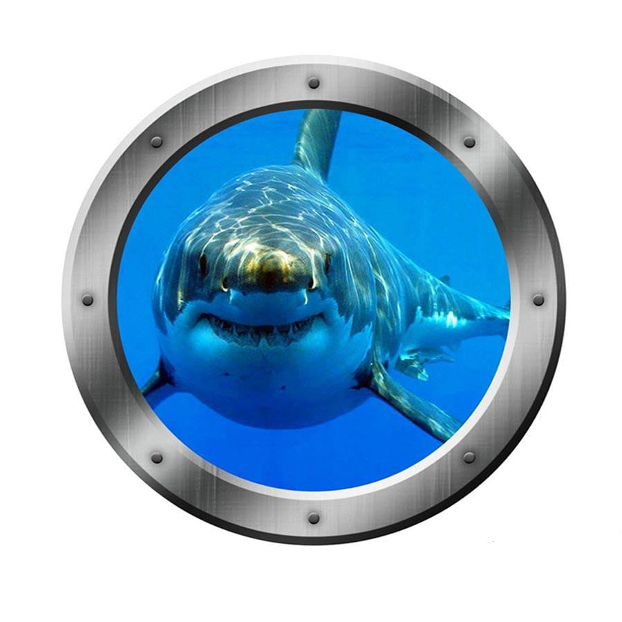 Porthole Wall Decal 3D Window Ocean Portal Shark Kids Room Art Wall Sticker VWAQ-PO17 Wall Decal