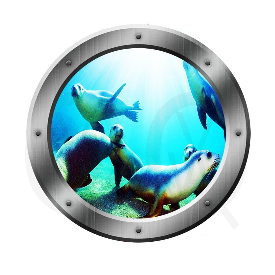 Porthole Wall Decal 3D Window Wall Art View Ocean Portal Seal Sea Lions PO18 Wall Decal