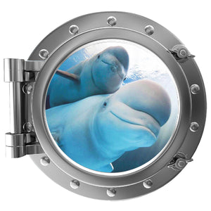 VWAQ Peel and Stick Beluga Whales Ocean Silver Porthole Wall Decal CUSTOM-P021