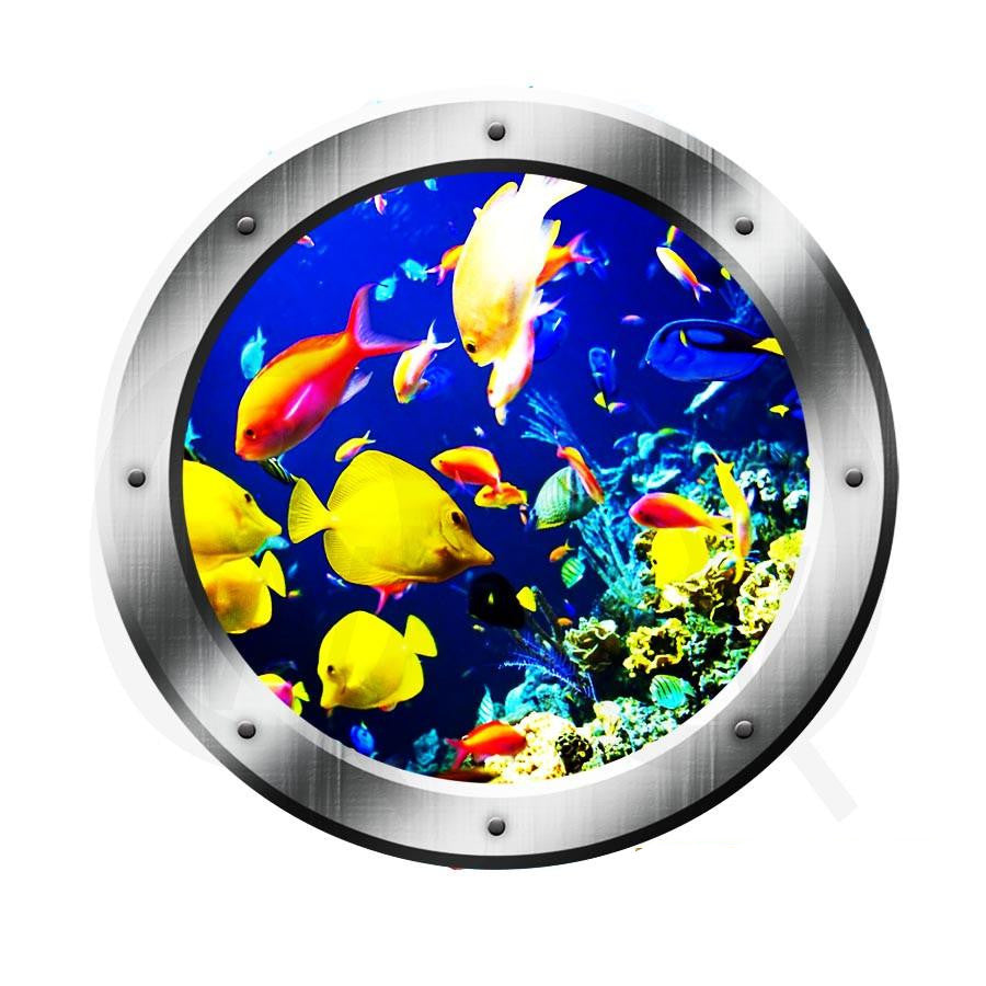 Underwater Fish Porthole Window View Wall Decal Coral Reef Ocean Fish Wall Art VWAQ® PO23 Wall Decal